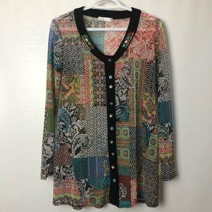 Zoé colorful patchwork print mesh blouse Sz M